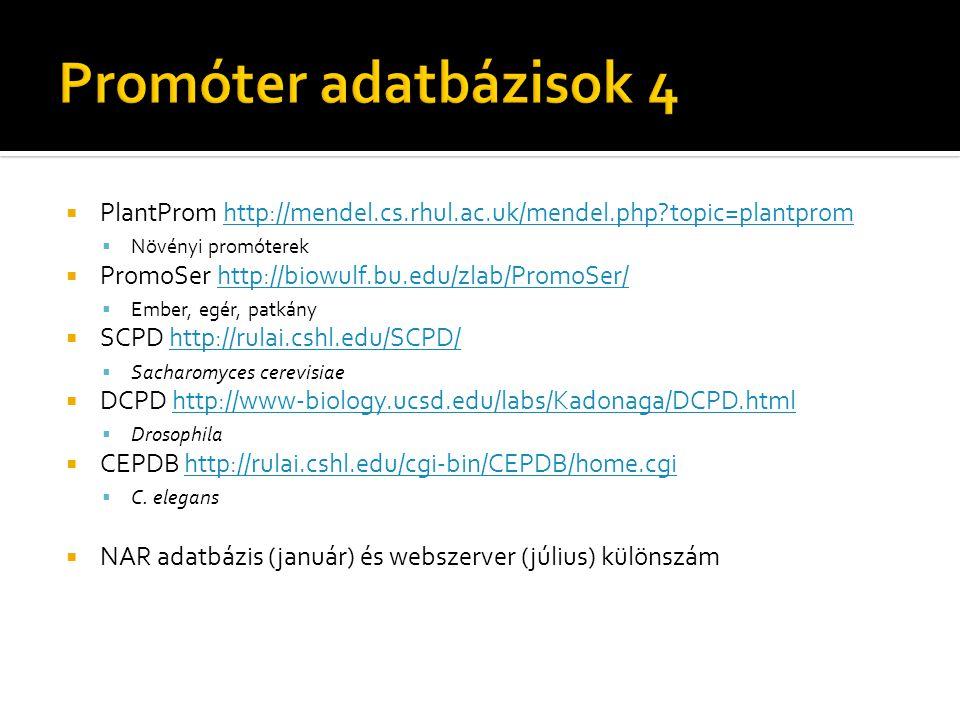  PlantProm http://mendel.cs.rhul.ac.uk/mendel.php topic=plantpromhttp://mendel.cs.rhul.ac.uk/mendel.php topic=plantprom  Növényi promóterek  PromoSer http://biowulf.bu.edu/zlab/PromoSer/http://biowulf.bu.edu/zlab/PromoSer/  Ember, egér, patkány  SCPD http://rulai.cshl.edu/SCPD/http://rulai.cshl.edu/SCPD/  Sacharomyces cerevisiae  DCPD http://www-biology.ucsd.edu/labs/Kadonaga/DCPD.htmlhttp://www-biology.ucsd.edu/labs/Kadonaga/DCPD.html  Drosophila  CEPDB http://rulai.cshl.edu/cgi-bin/CEPDB/home.cgihttp://rulai.cshl.edu/cgi-bin/CEPDB/home.cgi  C.