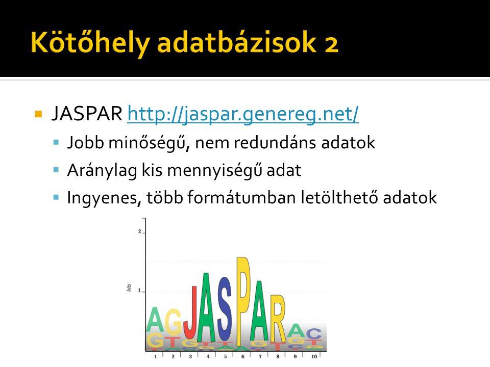  JASPAR http://jaspar.genereg.net/http://jaspar.genereg.net/  Jobb minőségű, nem redundáns adatok  Aránylag kis mennyiségű adat  Ingyenes, több fo