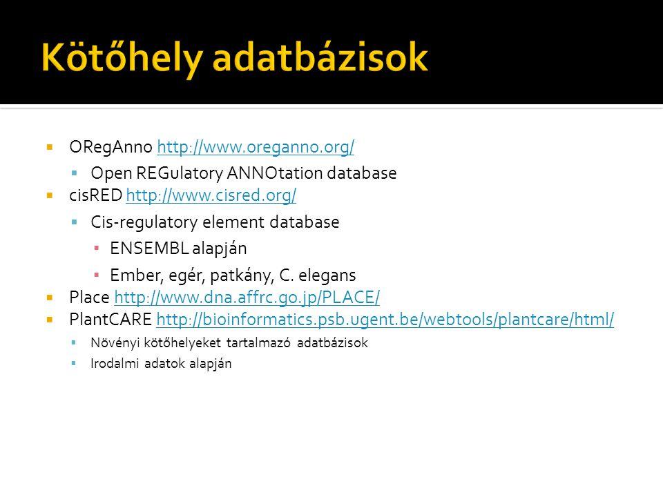  ORegAnno http://www.oreganno.org/http://www.oreganno.org/  Open REGulatory ANNOtation database  cisRED http://www.cisred.org/http://www.cisred.org/  Cis-regulatory element database ▪ ENSEMBL alapján ▪ Ember, egér, patkány, C.