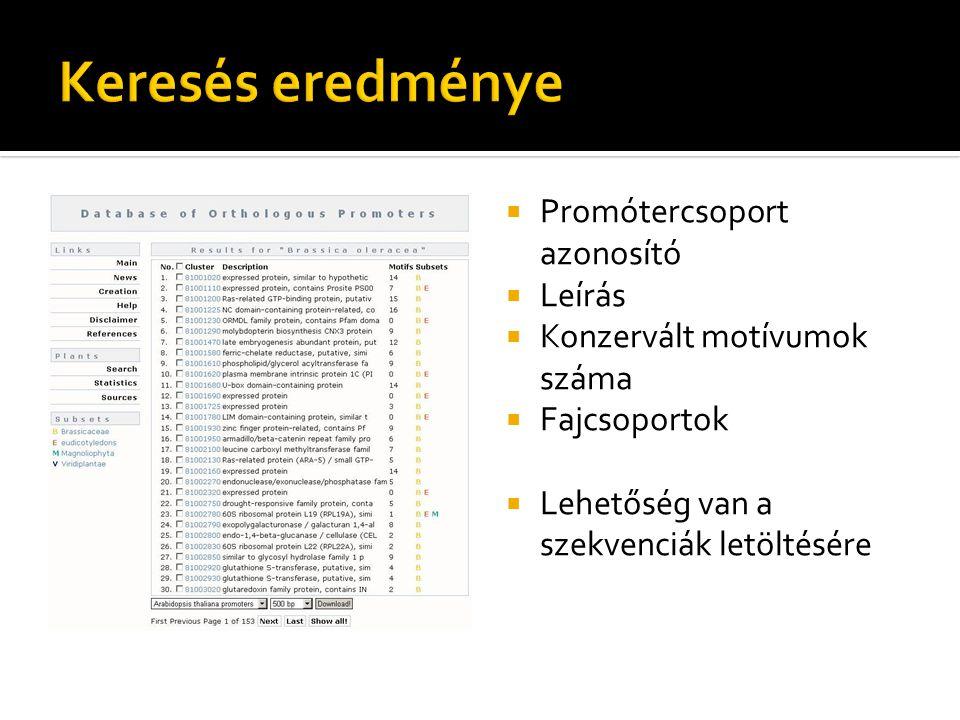  Promótercsoport azonosító  Leírás  Konzervált motívumok száma  Fajcsoportok  Lehetőség van a szekvenciák letöltésére