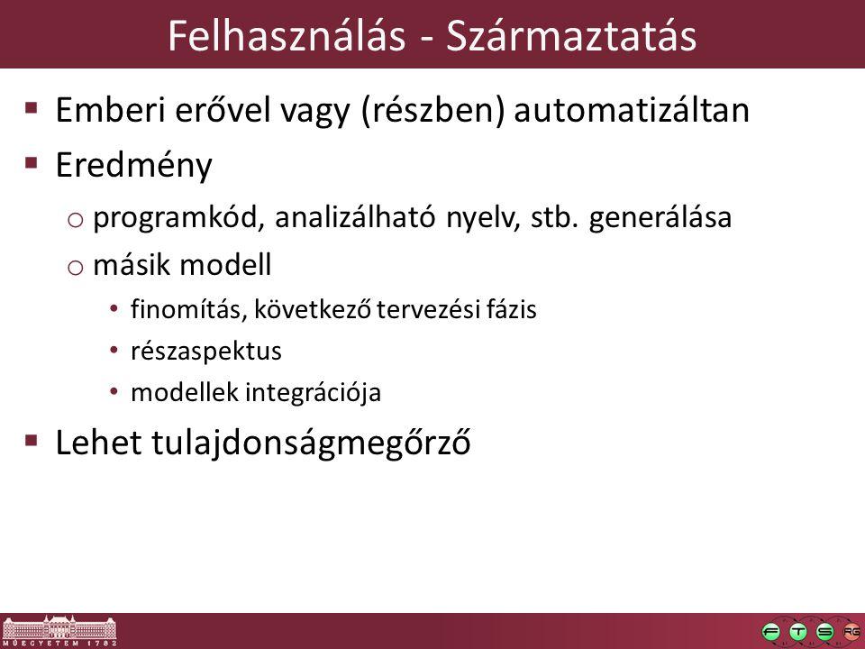 Felhasználás - Származtatás  Emberi erővel vagy (részben) automatizáltan  Eredmény o programkód, analizálható nyelv, stb. generálása o másik modell