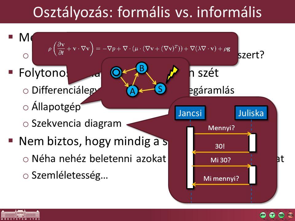 Osztályozás: formális vs. informális  Mennyi matematikai állítást tartalmaz? o Mennyire tereli mederbe a modellezett rendszert?  Folytonos skála, ne