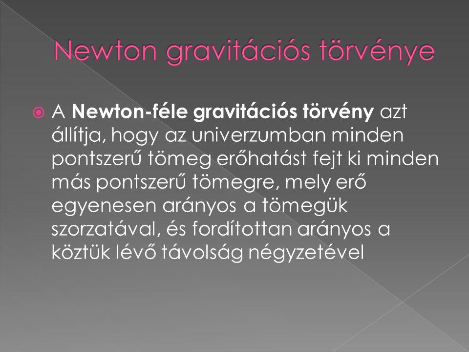  A Newton-féle gravitációs törvény azt állítja, hogy az univerzumban minden pontszerű tömeg erőhatást fejt ki minden más pontszerű tömegre, mely erő
