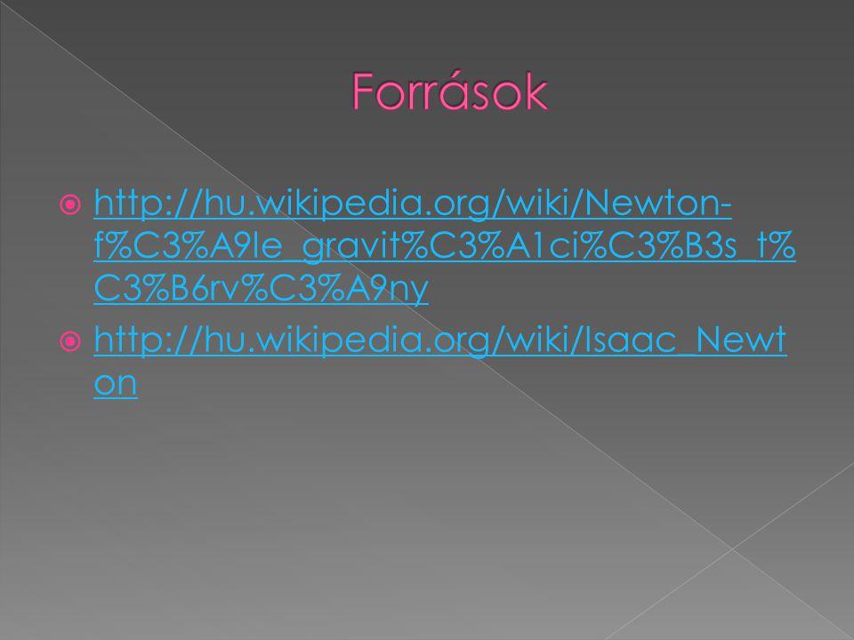  http://hu.wikipedia.org/wiki/Newton- f%C3%A9le_gravit%C3%A1ci%C3%B3s_t% C3%B6rv%C3%A9ny http://hu.wikipedia.org/wiki/Newton- f%C3%A9le_gravit%C3%A1c