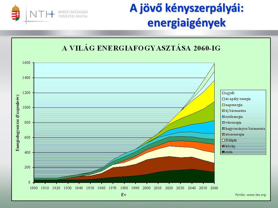 A jövő kényszerpályái: energiaigények Forrás: www.iea.org