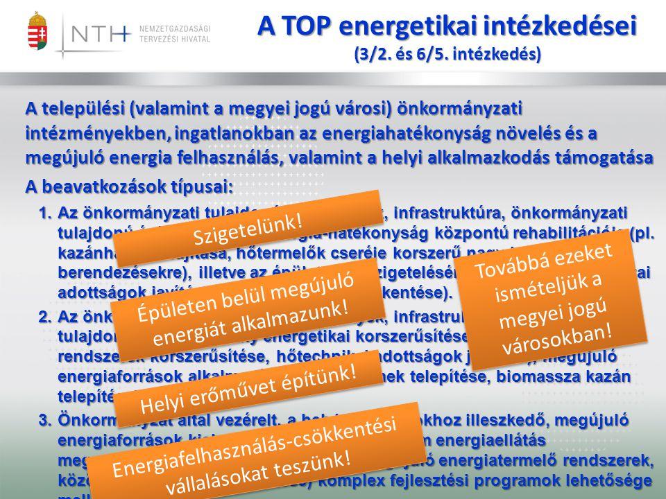 A TOP energetikai intézkedései (3/2. és 6/5. intézkedés) A települési (valamint a megyei jogú városi) önkormányzati intézményekben, ingatlanokban az e
