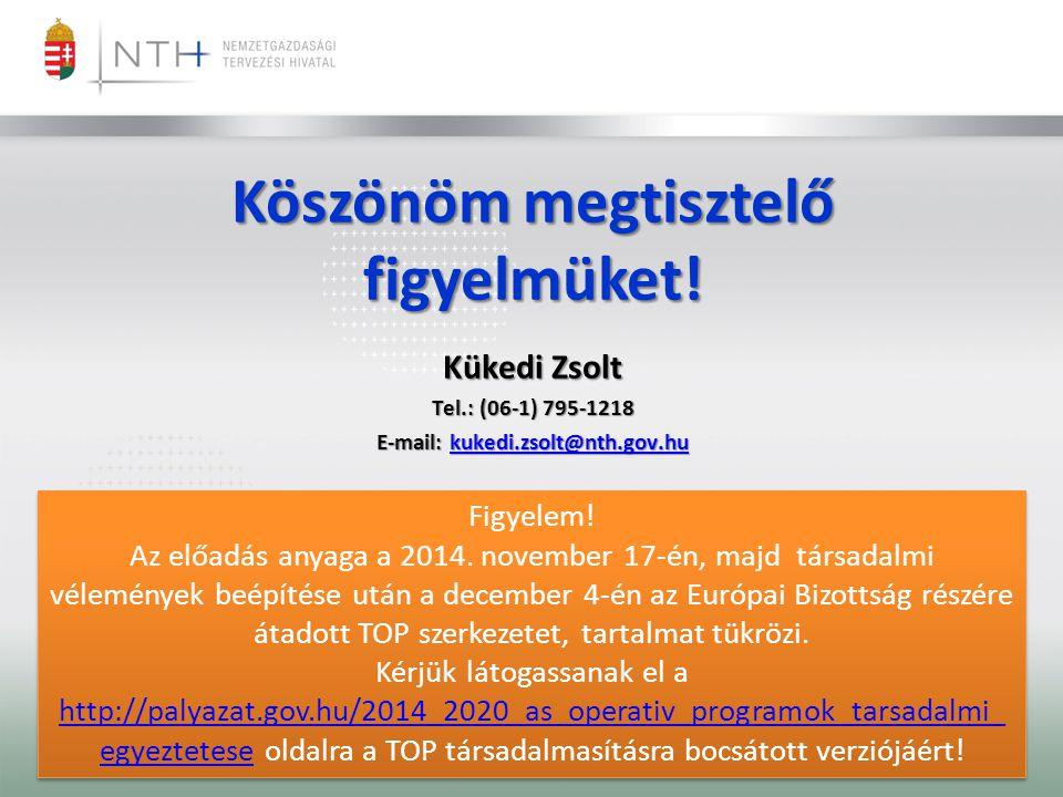Köszönöm megtisztelő figyelmüket! Kükedi Zsolt Tel.: (06-1) 795-1218 E-mail: kukedi.zsolt@nth.gov.hu kukedi.zsolt@nth.gov.hu Figyelem! Az előadás anya