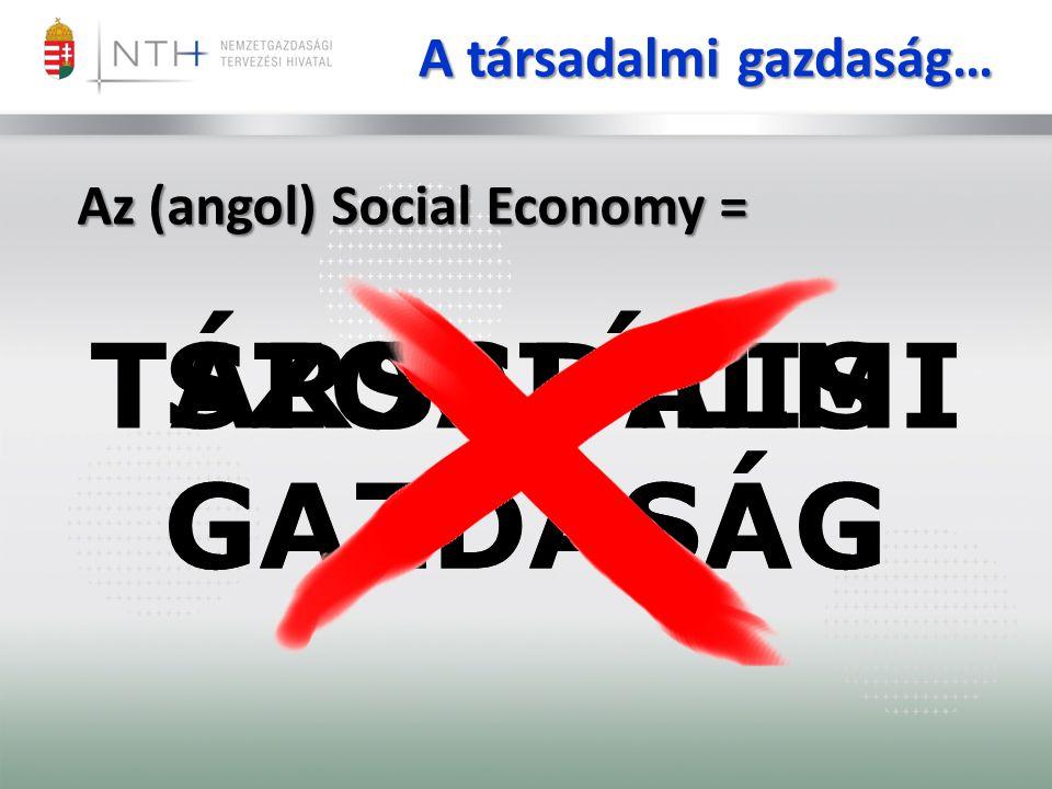 TÁRSADALMI GAZDASÁG A társadalmi gazdaság… SZOCIÁLIS GAZDASÁG Az (angol) Social Economy =