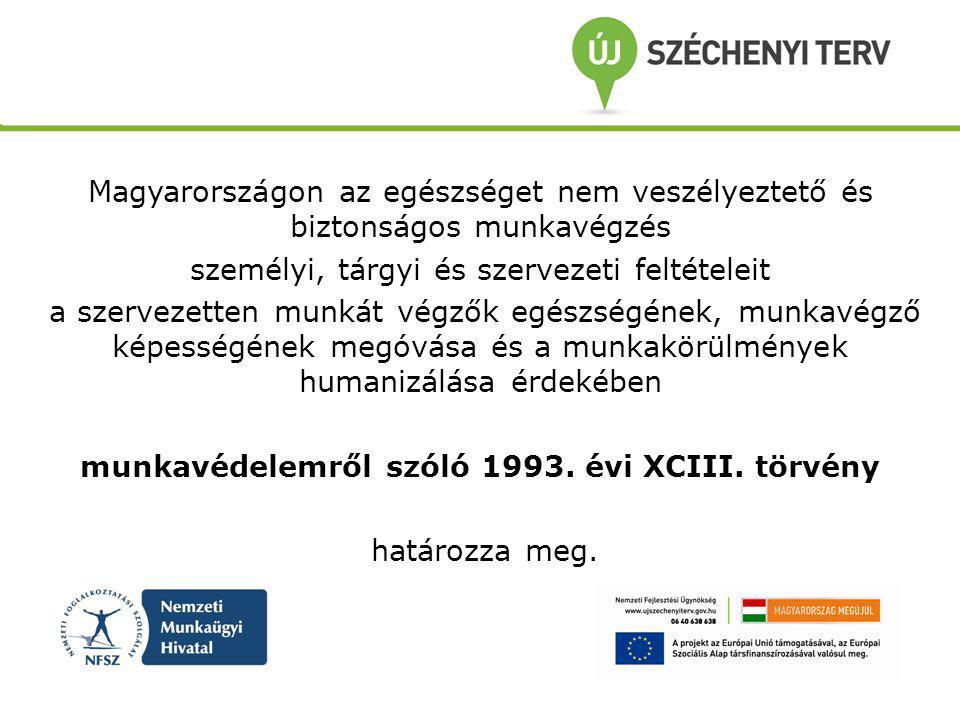 Magyarországon az egészséget nem veszélyeztető és biztonságos munkavégzés személyi, tárgyi és szervezeti feltételeit a szervezetten munkát végzők egészségének, munkavégző képességének megóvása és a munkakörülmények humanizálása érdekében munkavédelemről szóló 1993.