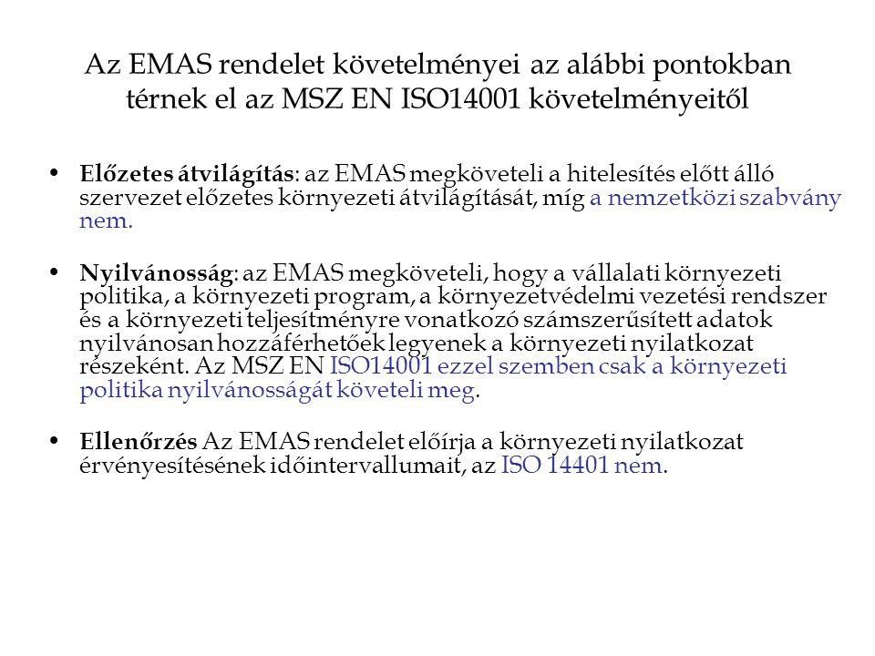 Az EMAS rendelet követelményei az alábbi pontokban térnek el az MSZ EN ISO14001 követelményeitől Előzetes átvilágítás : az EMAS megköveteli a hitelesítés előtt álló szervezet előzetes környezeti átvilágítását, míg a nemzetközi szabvány nem.
