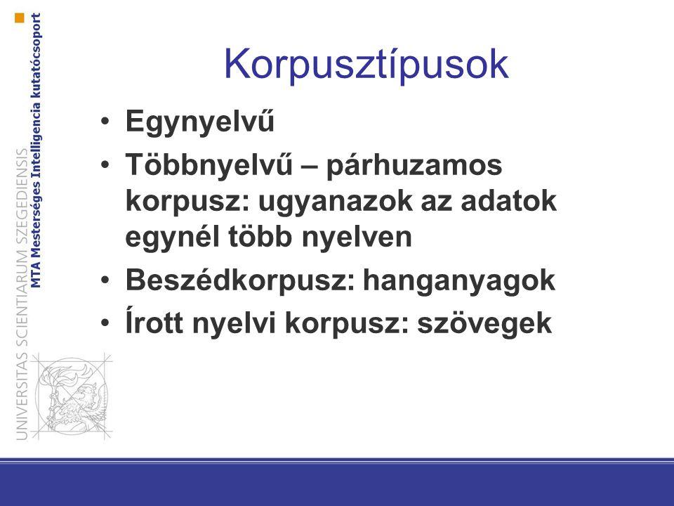 Korpusztípusok Egynyelvű Többnyelvű – párhuzamos korpusz: ugyanazok az adatok egynél több nyelven Beszédkorpusz: hanganyagok Írott nyelvi korpusz: szövegek