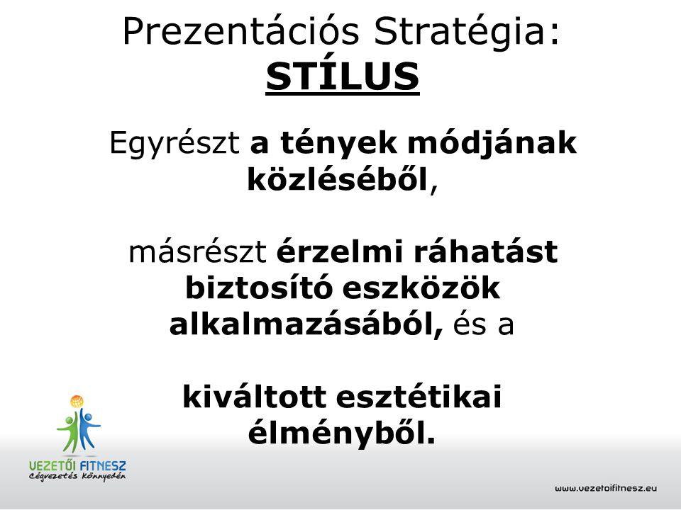 Prezentációs Stratégia: STÍLUS Egyrészt a tények módjának közléséből, másrészt érzelmi ráhatást biztosító eszközök alkalmazásából, és a kiváltott eszt