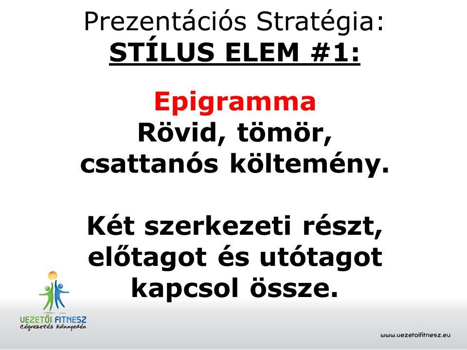 Prezentációs Stratégia: STÍLUS ELEM #1: Epigramma Rövid, tömör, csattanós költemény. Két szerkezeti részt, előtagot és utótagot kapcsol össze.