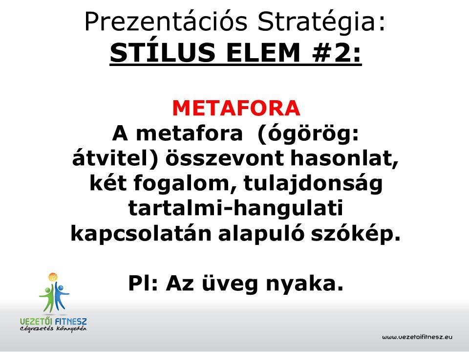 Prezentációs Stratégia: STÍLUS ELEM #2: METAFORA A metafora (ógörög: átvitel) összevont hasonlat, két fogalom, tulajdonság tartalmi-hangulati kapcsola