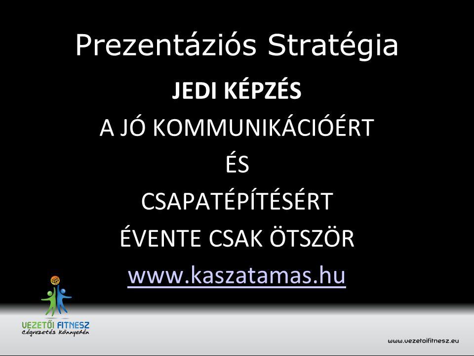 Prezentáziós Stratégia JEDI KÉPZÉS A JÓ KOMMUNIKÁCIÓÉRT ÉS CSAPATÉPÍTÉSÉRT ÉVENTE CSAK ÖTSZÖR www.kaszatamas.hu