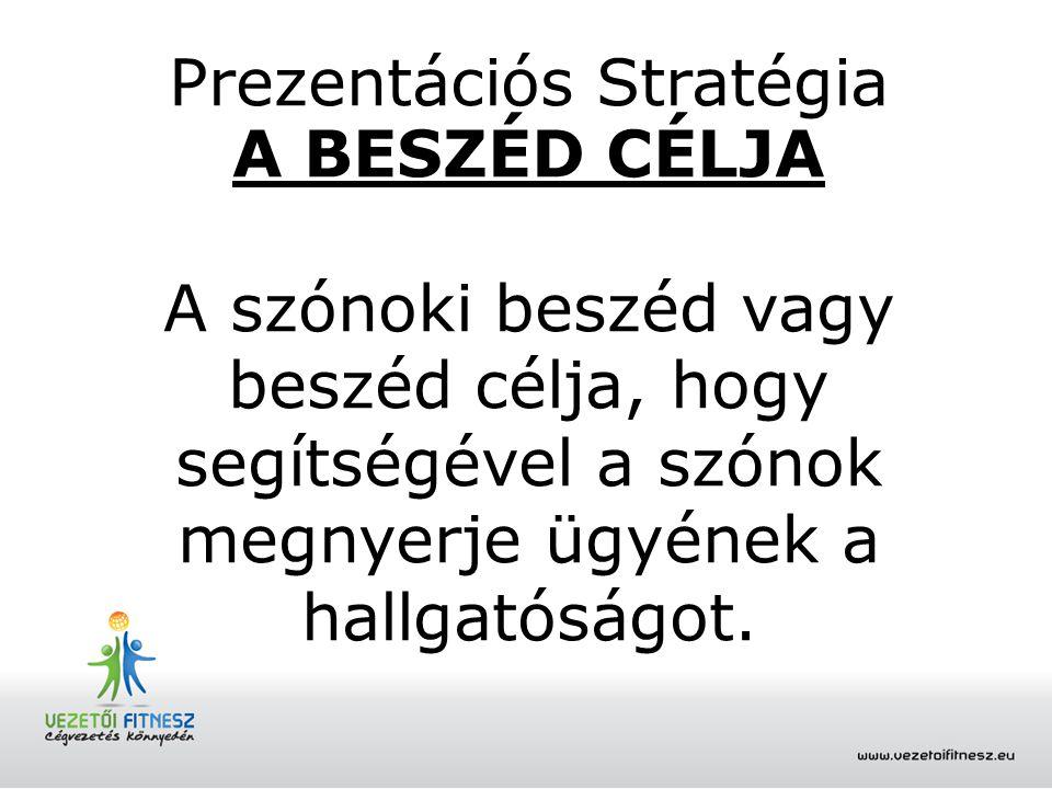 Prezentációs Stratégia A BESZÉD CÉLJA A szónoki beszéd vagy beszéd célja, hogy segítségével a szónok megnyerje ügyének a hallgatóságot.