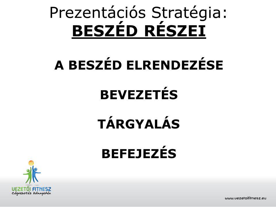 Prezentációs Stratégia: BEVEZETÉS A hallgatóság üdvözlése és méltatása.