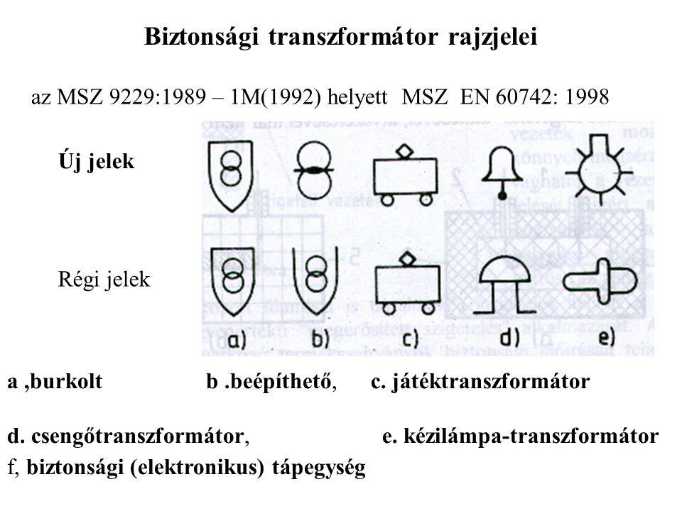 Biztonsági transzformátor rajzjelei az MSZ 9229:1989 – 1M(1992) helyettMSZ EN 60742: 1998 Új jelek Régi jelek a,burkolt b.beépíthető, c. játéktranszfo