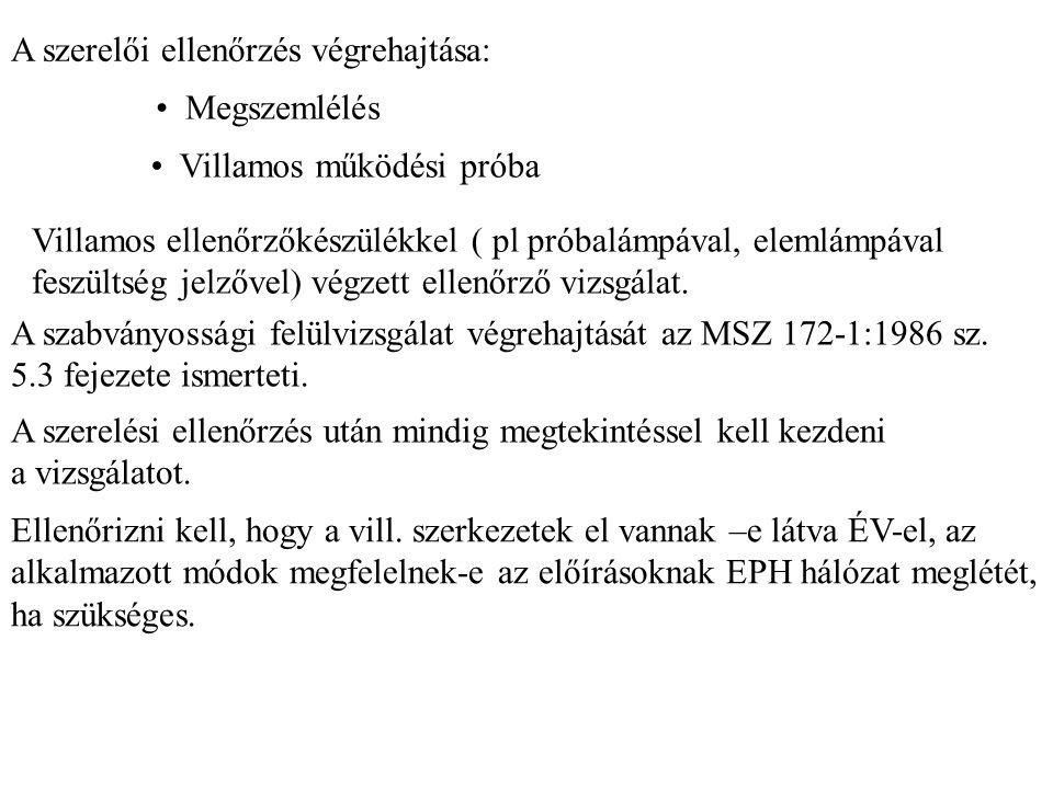 A szerelői ellenőrzés végrehajtása: Megszemlélés Villamos működési próba Villamos ellenőrzőkészülékkel ( pl próbalámpával, elemlámpával feszültség jel