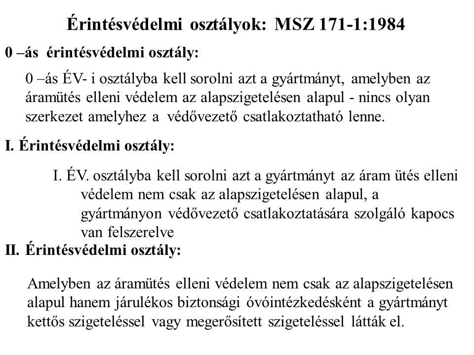 Érintésvédelmi osztályok: MSZ 171-1:1984 0 –ás érintésvédelmi osztály: 0 –ás ÉV- i osztályba kell sorolni azt a gyártmányt, amelyben az áramütés ellen