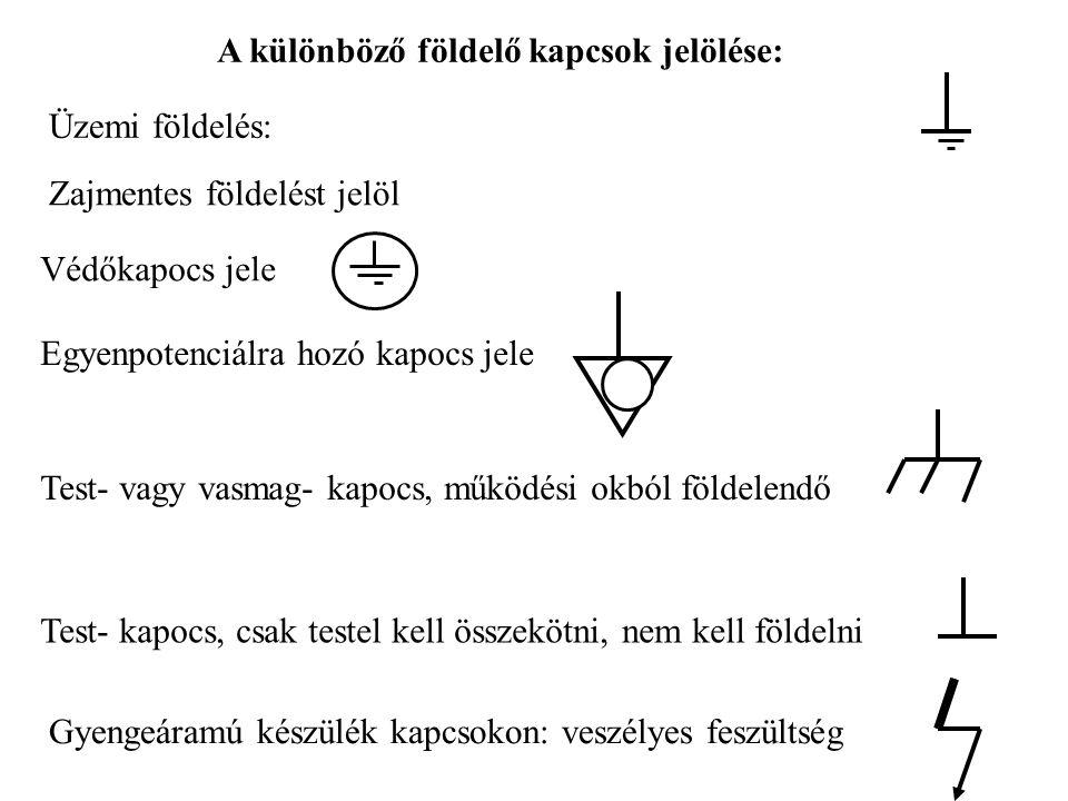 A különböző földelő kapcsok jelölése: Üzemi földelés: Zajmentes földelést jelöl Védőkapocs jele Egyenpotenciálra hozó kapocs jele Test- vagy vasmag- k