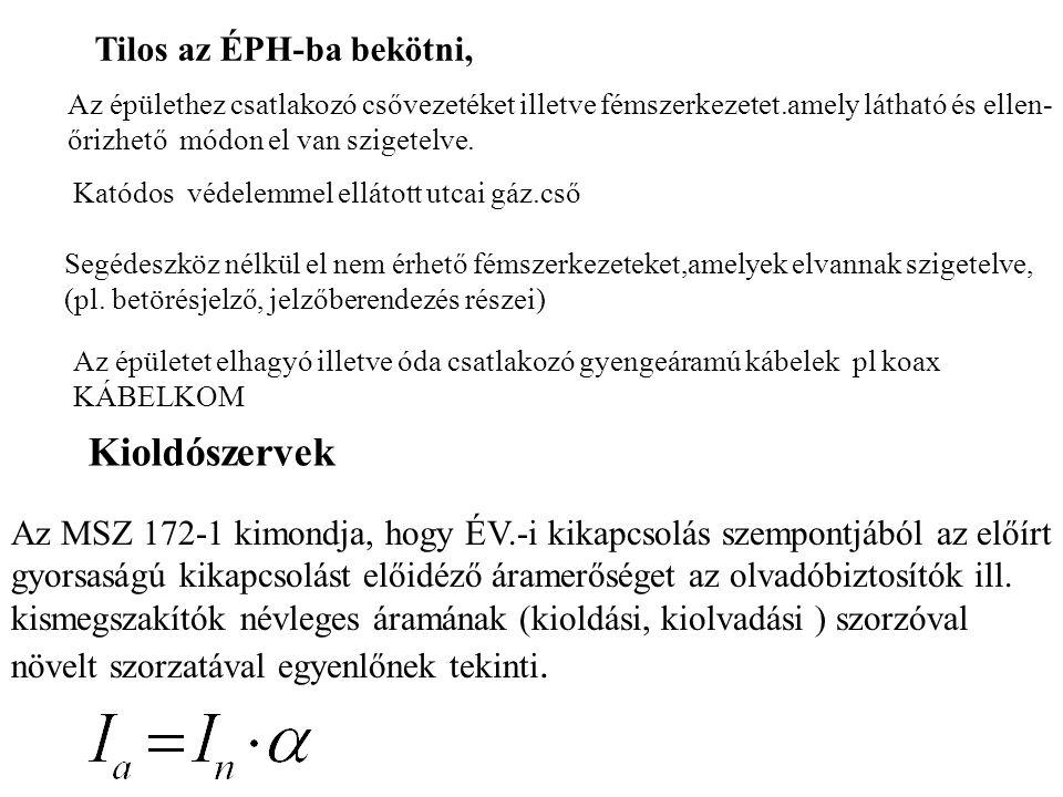 Tilos az ÉPH-ba bekötni, Az épülethez csatlakozó csővezetéket illetve fémszerkezetet.amely látható és ellen- őrizhető módon el van szigetelve. Katódos