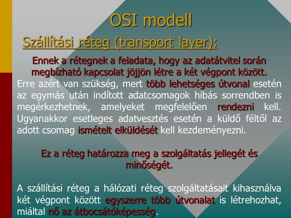 OSI modell Hálózati réteg (network layer): A küldő és a címzett közötti optimális útvonal meghatározása a fő feladata. direkttöbb közbeeső kapcsoló-be