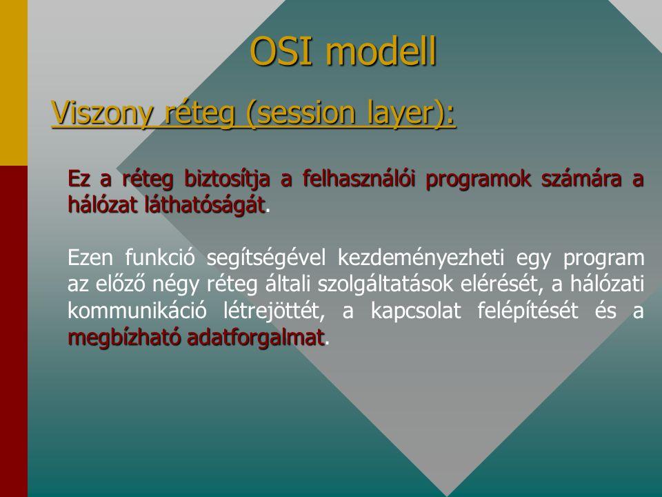 OSI modell Szállítási réteg (transport layer): Ennek a rétegnek a feladata, hogy az adatátvitel során megbízható kapcsolat jöjjön létre a két végpont