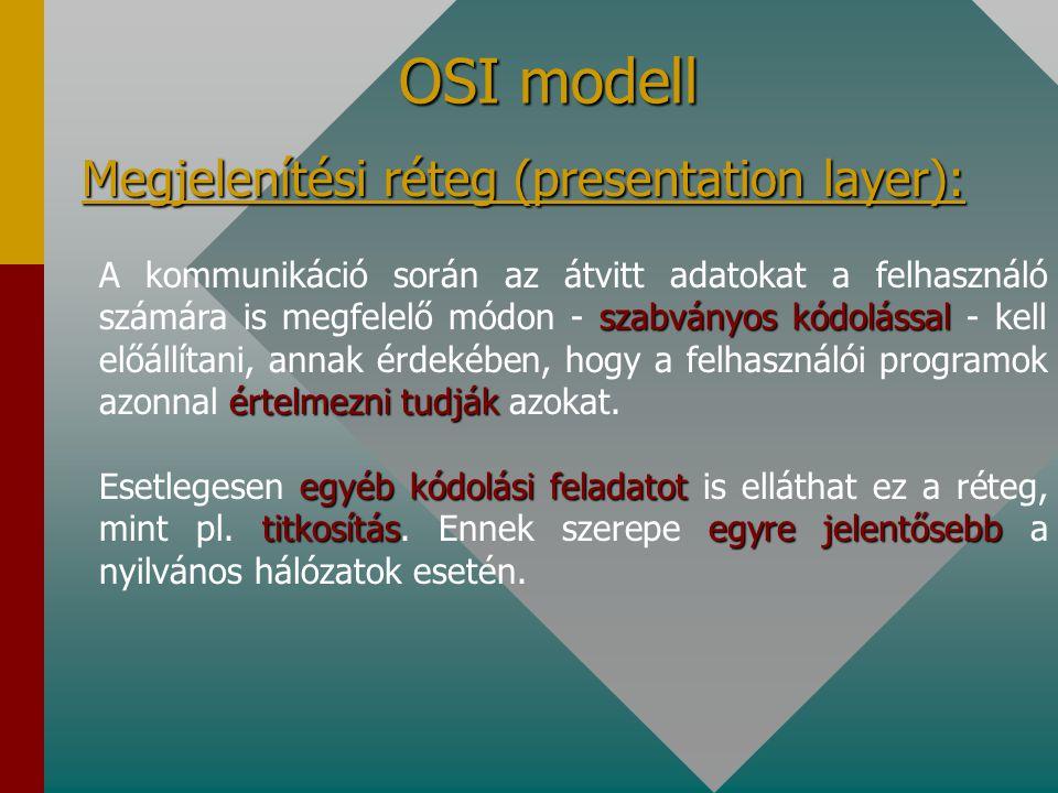OSI modell Viszony réteg (session layer): Ez a réteg biztosítja a felhasználói programok számára a hálózat láthatóságát Ez a réteg biztosítja a felhas