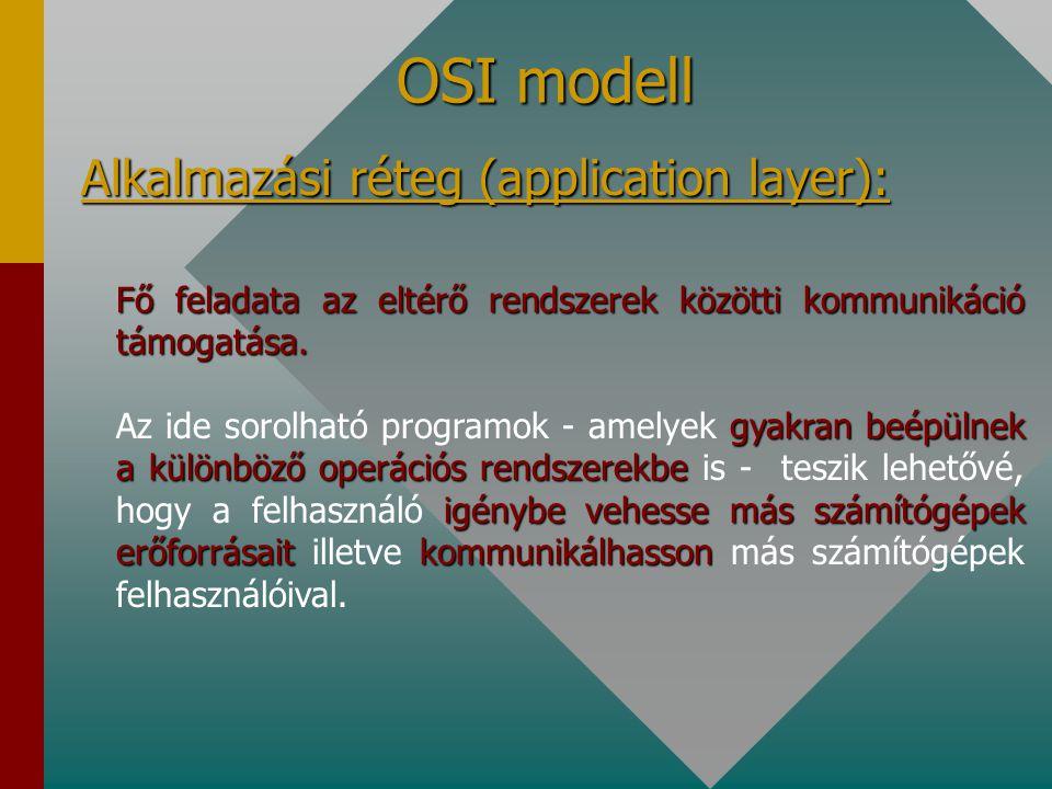 OSI modell Megjelenítési réteg (presentation layer): szabványos kódolással értelmezni tudják A kommunikáció során az átvitt adatokat a felhasználó szá
