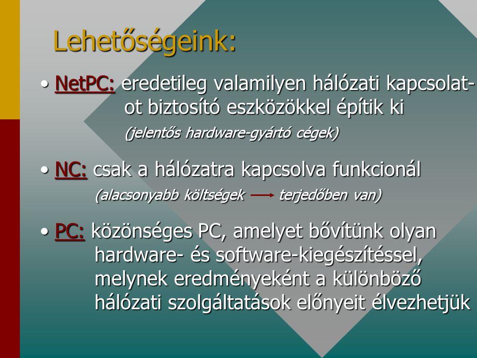 Lehetőségeink: NetPC: eredetileg valamilyen hálózati kapcsolat- ot biztosító eszközökkel építik ki (jelentős hardware-gyártó cégek)NetPC: eredetileg valamilyen hálózati kapcsolat- ot biztosító eszközökkel építik ki (jelentős hardware-gyártó cégek) NC: csak a hálózatra kapcsolva funkcionál (alacsonyabb költségekterjedőben van)NC: csak a hálózatra kapcsolva funkcionál (alacsonyabb költségekterjedőben van) PC: közönséges PC, amelyet bővítünk olyan hardware- és software-kiegészítéssel, melynek eredményeként a különböző hálózati szolgáltatások előnyeit élvezhetjükPC: közönséges PC, amelyet bővítünk olyan hardware- és software-kiegészítéssel, melynek eredményeként a különböző hálózati szolgáltatások előnyeit élvezhetjük