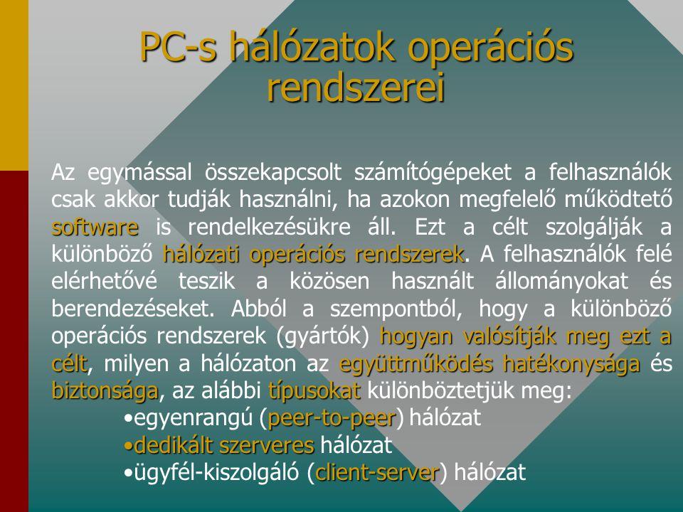 TCP/IP: Internet protokollokTöbb tucat protokollt foglal magába két legismertebb tagjára1975 egymástólkülönböző rendszerek összekötésére leggyakrabban