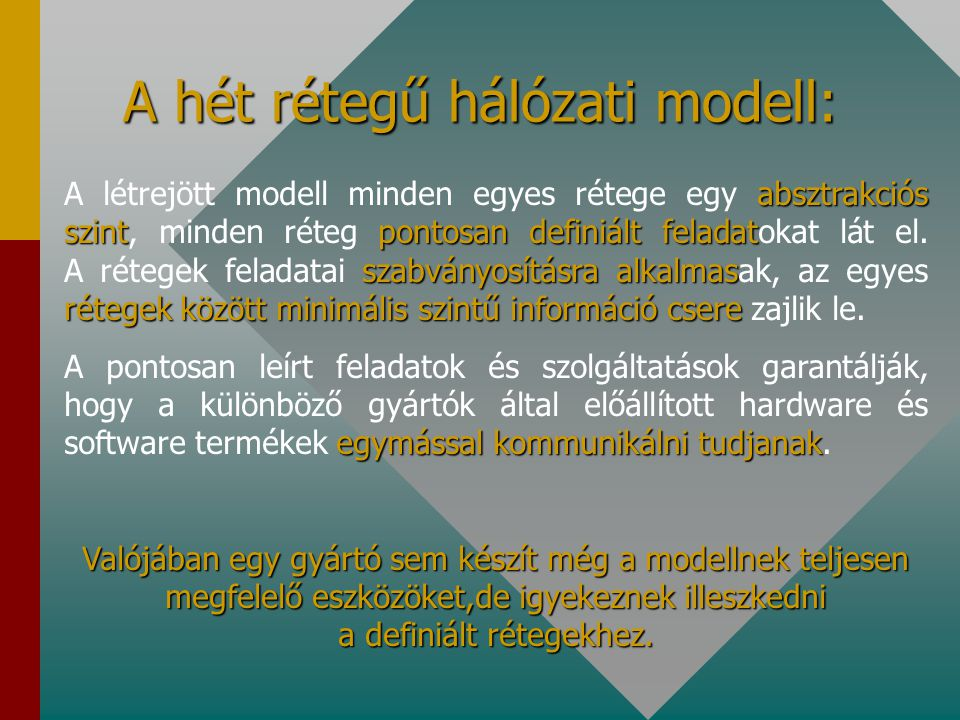 A hét rétegű hálózati modell: absztrakciós szintpontosan definiáltfeladat szabványosításra alkalmas rétegek között minimális szintű információ csere A létrejött modell minden egyes rétege egy absztrakciós szint, minden réteg pontosan definiált feladatokat lát el.