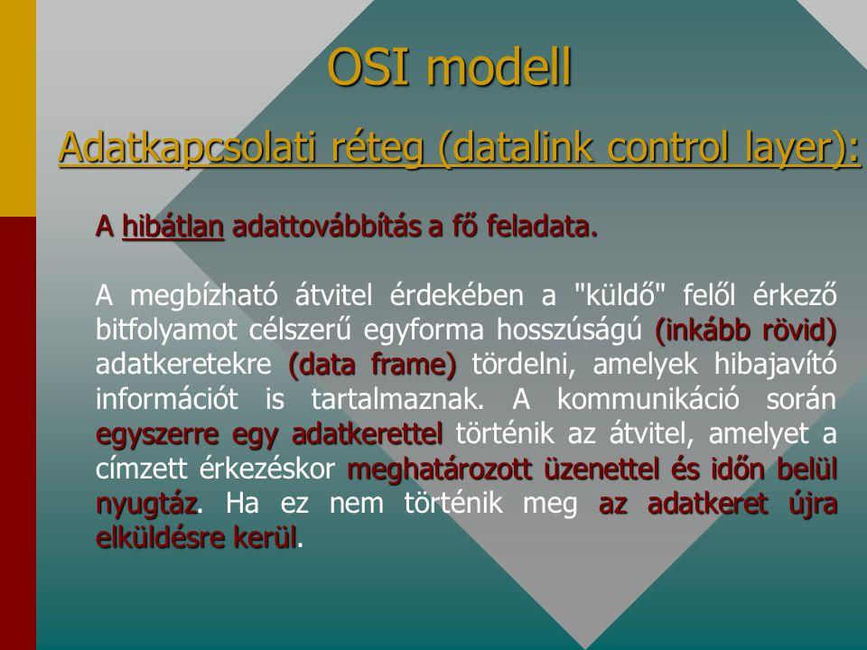 OSI modell Fizikai réteg (physical layer): Az adatbitek fizikai közegre való hibátlan kibocsátásáért és a célállomáshoz való megérkezéséért felelős. a