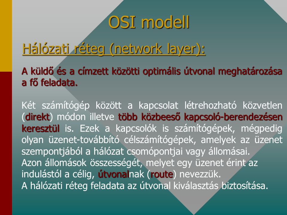 OSI modell Hálózati réteg (network layer): A küldő és a címzett közötti optimális útvonal meghatározása a fő feladata.