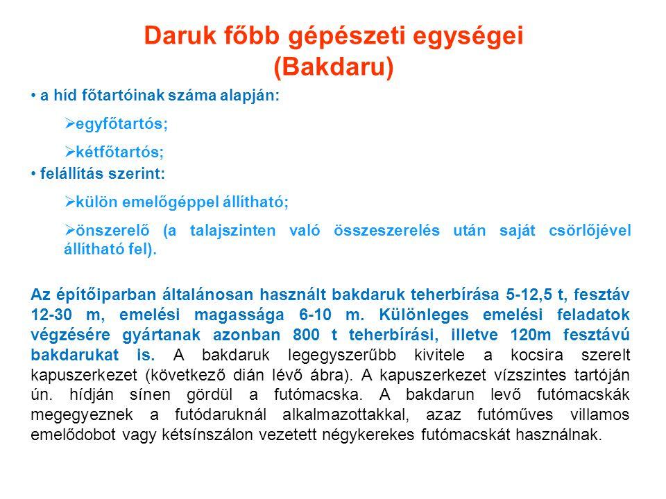 Daruk főbb gépészeti egységei (Bakdaru) a híd főtartóinak száma alapján:  egyfőtartós;  kétfőtartós; felállítás szerint:  külön emelőgéppel állítha