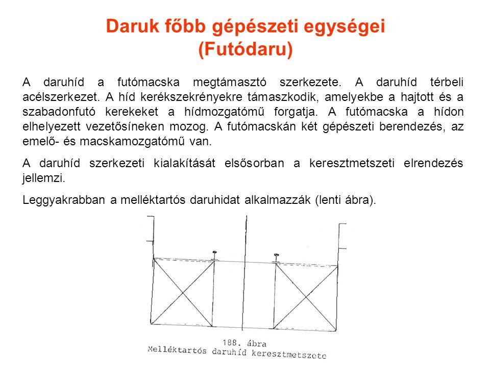 A daruhíd a futómacska megtámasztó szerkezete. A daruhíd térbeli acélszerkezet. A híd kerékszekrényekre támaszkodik, amelyekbe a hajtott és a szabadon