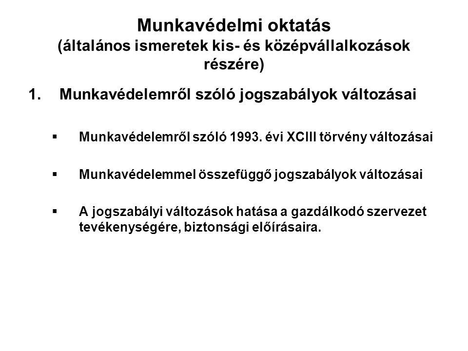 Munkavédelmi oktatás (általános ismeretek kis- és középvállalkozások részére) 1.Munkavédelemről szóló jogszabályok változásai  Munkavédelemről szóló 1993.