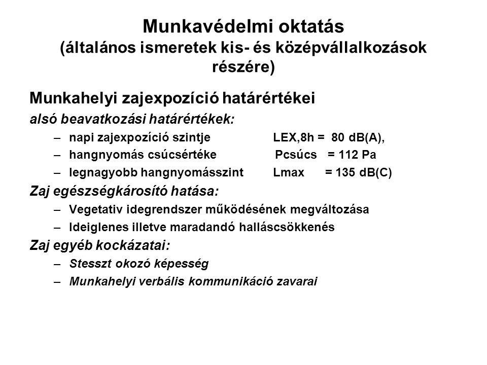 Munkavédelmi oktatás (általános ismeretek kis- és középvállalkozások részére) Munkahelyi zajexpozíció határértékei alsó beavatkozási határértékek: –napi zajexpozíció szintje LEX,8h = 80 dB(A), –hangnyomás csúcsértéke Pcsúcs = 112 Pa –legnagyobb hangnyomásszintLmax = 135 dB(C) Zaj egészségkárosító hatása: –Vegetativ idegrendszer működésének megváltozása –Ideiglenes illetve maradandó halláscsökkenés Zaj egyéb kockázatai: –Stesszt okozó képesség –Munkahelyi verbális kommunikáció zavarai
