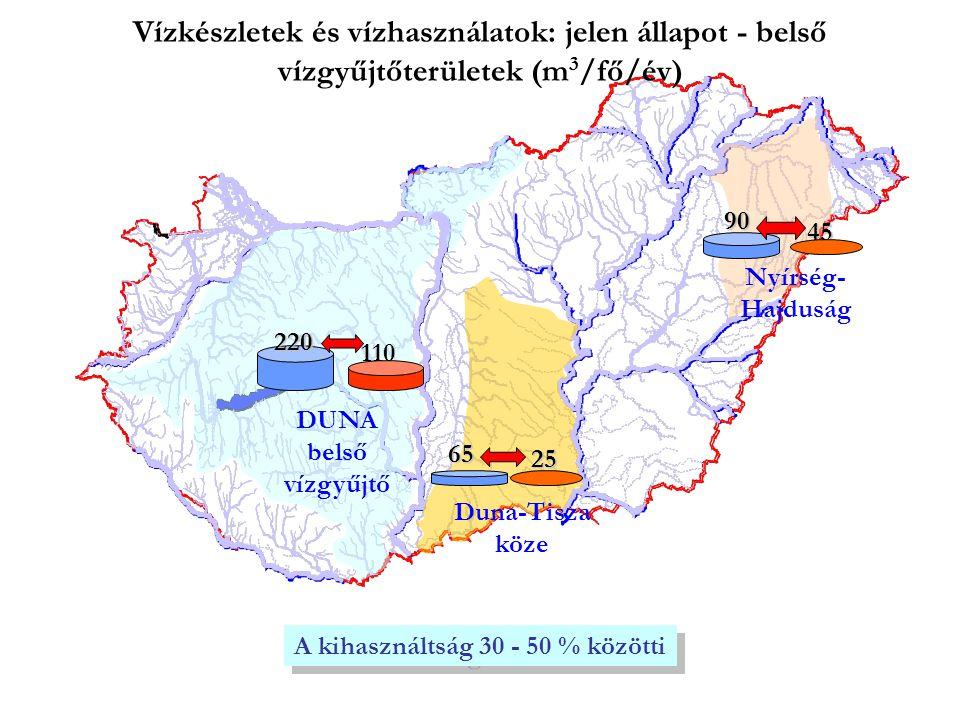 220 110 DUNA belső vízgyűjtő A kihasználtság 30 - 50 % közötti 65 Duna-Tisza köze 25 Nyírség- Hajduság 4590 Vízkészletek és vízhasználatok: jelen állapot - belső vízgyűjtőterületek (m 3 /fő/év)