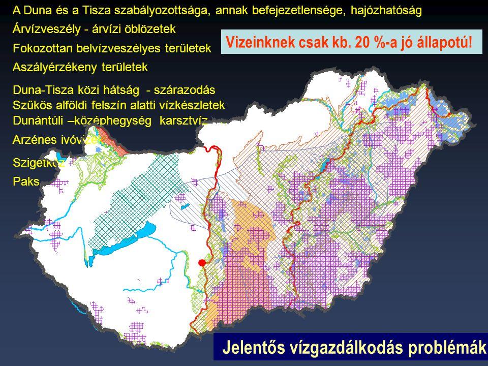 Duna-Tisza közi hátság - szárazodás Jelentős vízgazdálkodási problémák A Duna és a Tisza szabályozottsága, annak befejezetlensége, hajózhatóság Árvízveszély - árvízi öblözetek Fokozottan belvízveszélyes területek Szűkös alföldi felszín alatti vízkészletek Arzénes ivóvizek Aszályérzékeny területek Szigetköz Paks Dunántúli –középhegység karsztvíz Jelentős vízgazdálkodás problémák Vizeinknek csak kb.
