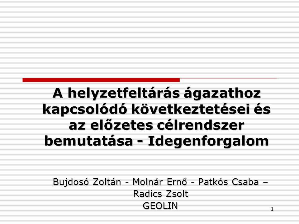 A helyzetfeltárás ágazathoz kapcsolódó következtetései és az előzetes célrendszer bemutatása - Idegenforgalom Bujdosó Zoltán - Molnár Ernő - Patkós Csaba – Radics Zsolt GEOLIN 1