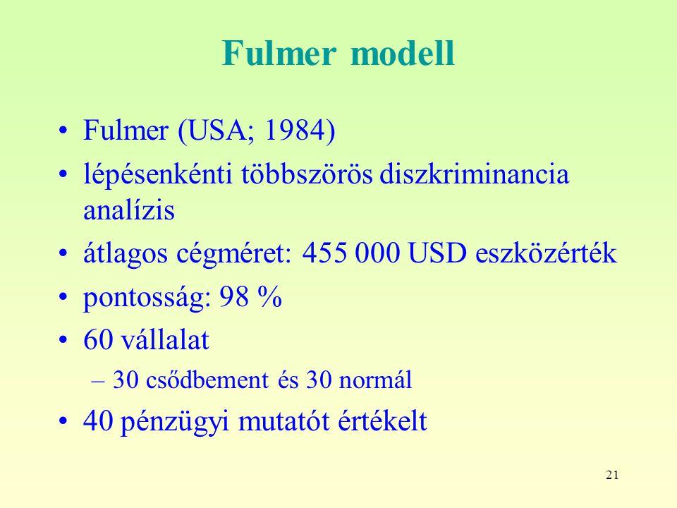 21 Fulmer modell Fulmer (USA; 1984) lépésenkénti többszörös diszkriminancia analízis átlagos cégméret: 455 000 USD eszközérték pontosság: 98 % 60 vállalat –30 csődbement és 30 normál 40 pénzügyi mutatót értékelt