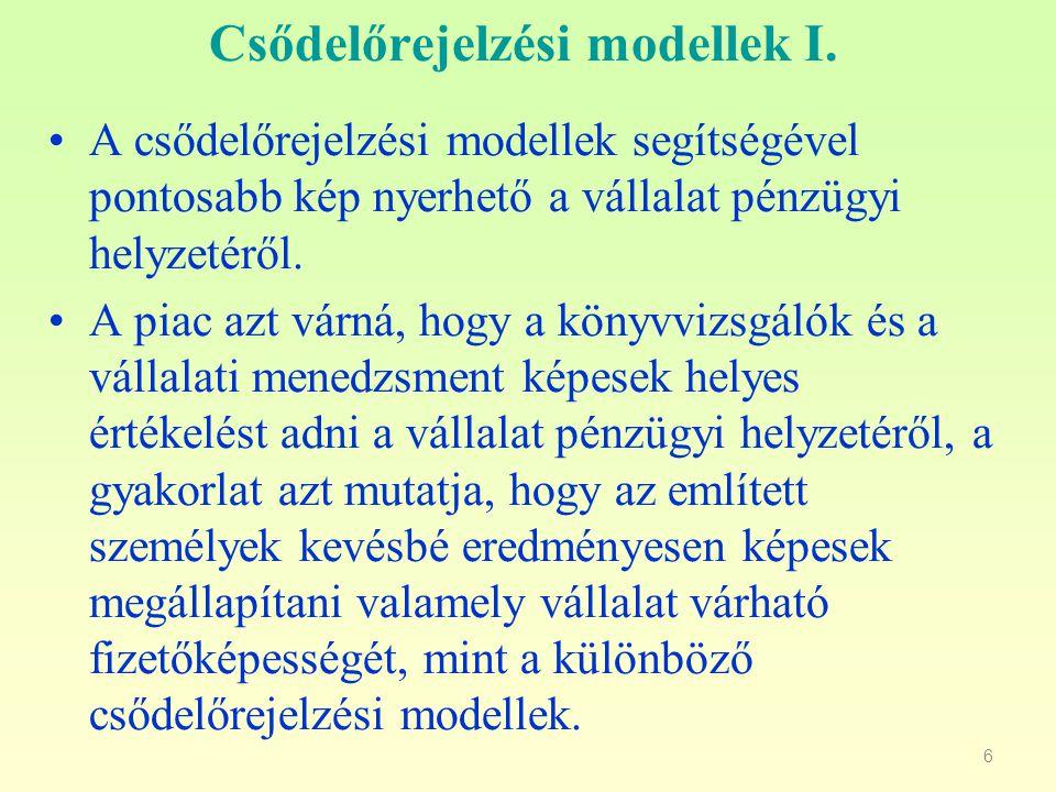27 Comerford modell Z=1,44 * X 1 - 1,78 * X 2 + 6,06 * X 3 + 0,62 * X 4 - 2,56 * X 5 + 0,37 * X 6 (Z = 0) X 1 = adózott eredmény/befektetett eszközök X 2 = adósság/összes befektetett eszköz X3 = (pénzeszközök + követelések)/ /összes befektetett eszköz X4 = forgóeszközök/rövid lejáratú kötelezettségek X5 = (pénzeszközök + követelések)/rövid lejáratú kötelezettségek X6 = adózott eredmény/jegyzett tőke