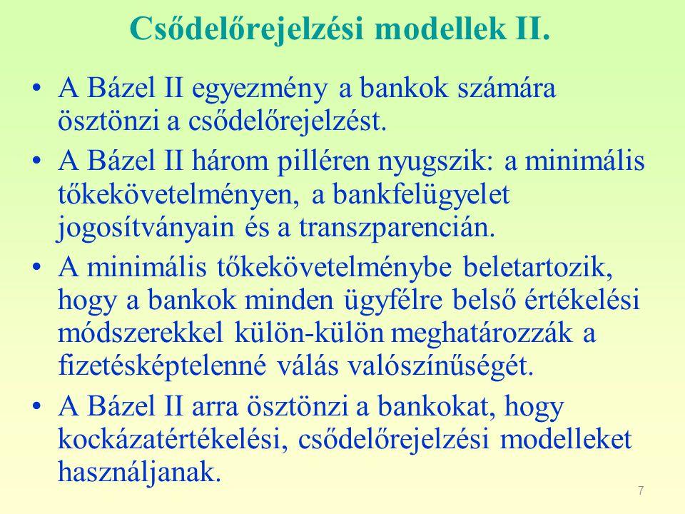 7 Csődelőrejelzési modellek II.A Bázel II egyezmény a bankok számára ösztönzi a csődelőrejelzést.