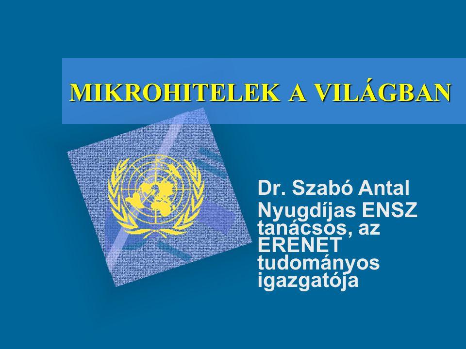 MIKROHITELEK A VILÁGBAN Dr. Szabó Antal Nyugdíjas ENSZ tanácsos, az ERENET tudományos igazgatója To insert your company logo on this slide From the In