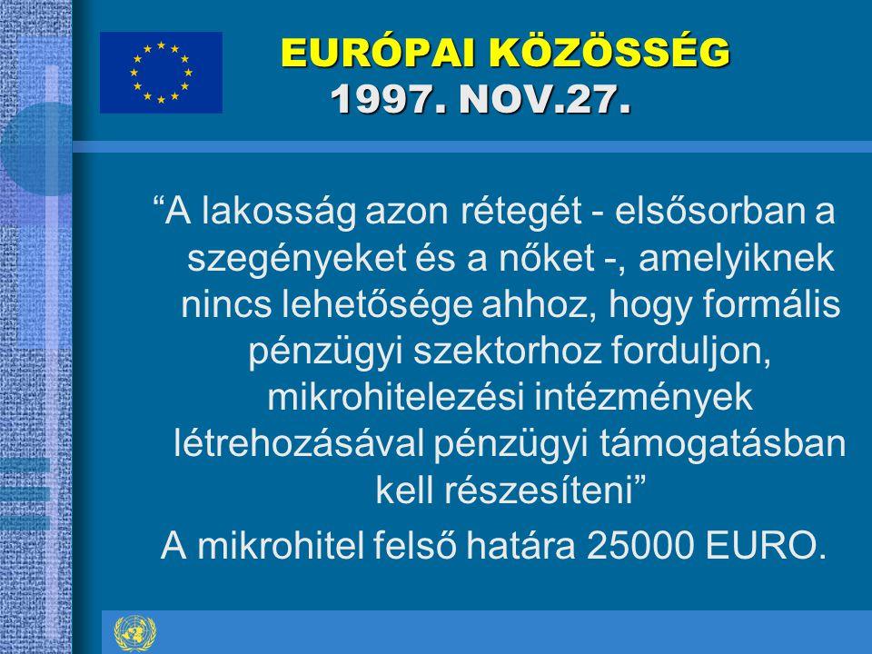 """EURÓPAI KÖZÖSSÉG 1997. NOV.27. EURÓPAI KÖZÖSSÉG 1997. NOV.27. """"A lakosság azon rétegét - elsősorban a szegényeket és a nőket -, amelyiknek nincs lehet"""
