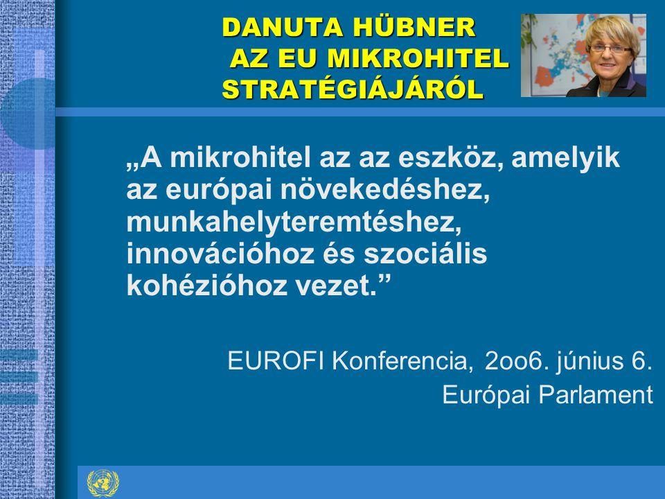 """DANUTA HÜBNER AZ EU MIKROHITEL STRATÉGIÁJÁRÓL """"A mikrohitel az az eszköz, amelyik az európai növekedéshez, munkahelyteremtéshez, innovációhoz és szociális kohézióhoz vezet. EUROFI Konferencia, 2oo6."""
