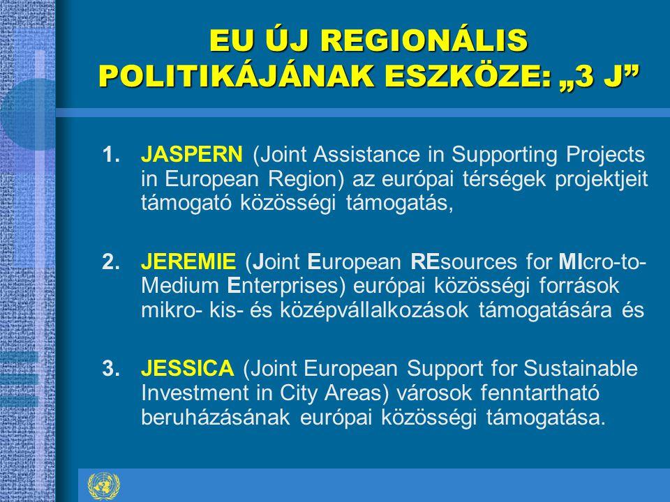 """EU ÚJ REGIONÁLIS POLITIKÁJÁNAK ESZKÖZE: """"3 J 1.JASPERN (Joint Assistance in Supporting Projects in European Region) az európai térségek projektjeit támogató közösségi támogatás, 2.JEREMIE (Joint European REsources for MIcro-to- Medium Enterprises) európai közösségi források mikro- kis- és középvállalkozások támogatására és 3.JESSICA (Joint European Support for Sustainable Investment in City Areas) városok fenntartható beruházásának európai közösségi támogatása."""