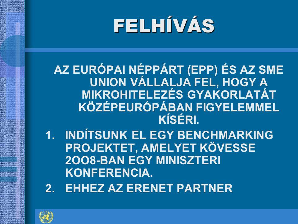 FELHÍVÁS AZ EURÓPAI NÉPPÁRT (EPP) ÉS AZ SME UNION VÁLLALJA FEL, HOGY A MIKROHITELEZÉS GYAKORLATÁT KÖZÉPEURÓPÁBAN FIGYELEMMEL KÍSÉRI.